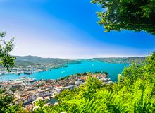 Aerial view of old town of Bryggen from viewpoint - Norway stock photography