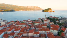 Aerial view old town of Budva stock video footage