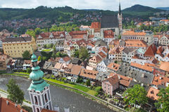 Aerial view of the old town of Cesky Krumlov Royalty Free Stock Image