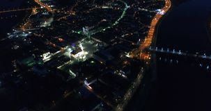 Aerial view of old town of city at night stock video