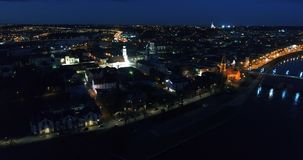 Aerial view of old town of city at night stock footage