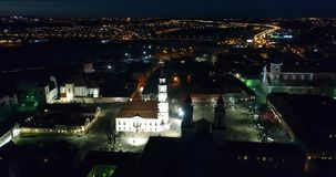 Aerial view of old town of city at night stock video footage