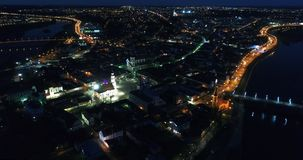 Aerial view of old town of city at night. Aerial view of old town at night stock video