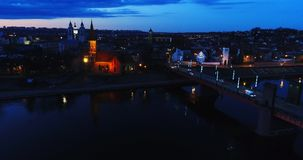 Aerial view of old town of city at night Stock Images