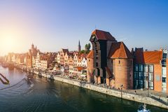Aerial view of Old Town and crane in Gdansk, Poland. royalty free stock photography