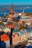 Aerial view of Old Town and Daugava, Riga, Latvia Royalty Free Stock Photography