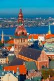 Aerial view of Old Town and Daugava, Riga, Latvia Stock Photos