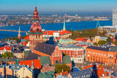 Aerial view of Old Town and Daugava, Riga, Latvia Royalty Free Stock Images
