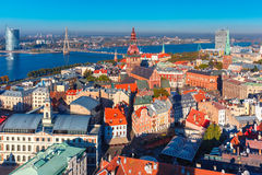 Aerial view of Old Town and Daugava, Riga, Latvia Stock Photo