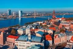 Aerial view of Old Town and Daugava, Riga, Latvia stock photo