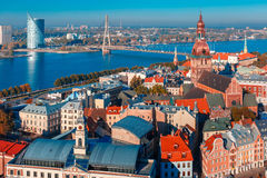 Aerial view of Old Town and Daugava, Riga, Latvia royalty free stock photo