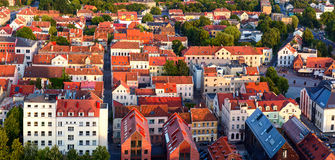 Aerial view of the Old town district. Klaipeda city in the evening time. Klaipeda, Lithuania Royalty Free Stock Image