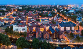Aerial view of the Old town district. Klaipeda city in the evening time. Klaipeda, Lithuania Stock Photography