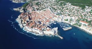 Aerial view of Old Town of Dubrovnik stock video footage