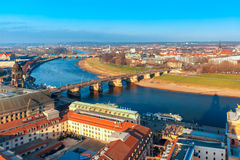 Aerial view of Old town and Elbe, Dresden, Germany Royalty Free Stock Photo