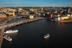 Aerial view of the old town Gamla Stan of Stockholm, Sweden. Royalty Free Stock Image