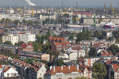 Aerial view of the old town of Gdansk with city hall, Poland Royalty Free Stock Photography