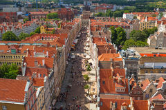 Aerial view of the old town in Gdansk Stock Photography