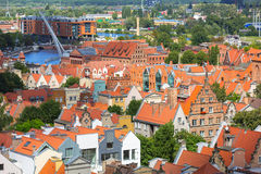 Aerial view of the old town in Gdansk Royalty Free Stock Photos