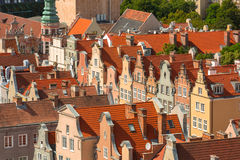 Aerial view of the old town in Gdansk Stock Images