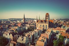 Aerial view of Old Town in Gdansk, Poland stock photography