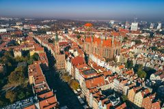Aerial view of Old Town in Gdansk, Poland. stock photo