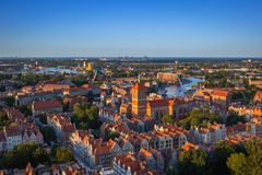 Aerial view of the old town in Gdansk Stock Photos