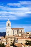 Aerial view of the Old Town of Girona, in Spain. An aerial view of the Old Town of Girona, in Spain, seen from above highlighting the bell tower of the Cathedral Royalty Free Stock Photos