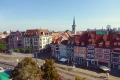 Aerial view on the Old Town Hall in the center of Erfurt: Thurin Royalty Free Stock Image