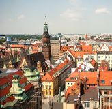 Aerial view of old town. And Town Hall from St. Mary Magdalene Church in Wroclaw, Poland stock image