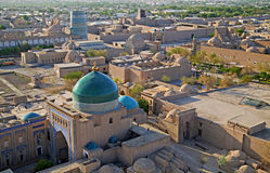 Aerial view of old town in Khiva, Uzbekistan. Central Asia royalty free stock images