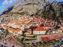 Aerial view of the old town of Kotor, Montenegro.  Royalty Free Stock Image