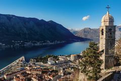 Aerial view of the old town of Kotor, Montenegro.  Stock Photos