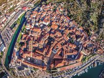 Aerial view of the old town of Kotor, Montenegro.  Royalty Free Stock Photos
