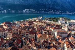 Aerial view of the old town of Kotor, Montenegro.  Royalty Free Stock Images