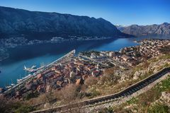 Aerial view of the old town of Kotor, Montenegro.  Stock Photo