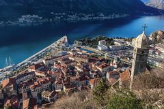 Aerial view of the old town of Kotor, Montenegro.  Stock Images