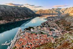 Aerial view of the old town of Kotor, Montenegro.  Royalty Free Stock Photo