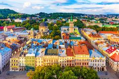 Aerial view of the Old Town of Lviv, Ukraine royalty free stock photos