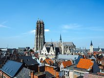 Aerial view of the old town of Mechelen and the Saint Rumbold`s Catherdal. Aerial view of the old town of Mechelen and the Saint Rumbold`s Cathedral, in the Royalty Free Stock Photo