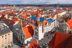 Aerial view of Old Town, Munich, Germany Stock Photography
