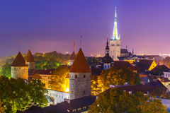 Aerial view old town at night, Tallinn, Estonia Royalty Free Stock Images