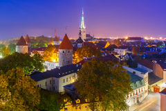 Aerial view old town at night, Tallinn, Estonia Royalty Free Stock Photography