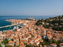 Aerial view of old town Piran, Slovenia, Europe. Summer vacations tourism concept background. royalty free stock images