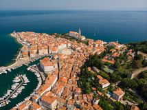 Aerial view of old town Piran, Slovenia, Europe. Summer vacations tourism concept background. Stock Images