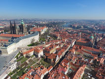 Aerial view of Old Town of Prague and church Saint Vitus in Prague Royalty Free Stock Image