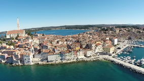 Aerial view of the old town and sea surrounding Rovinj, Croatia stock video