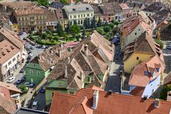 Aerial view of old town Sighisoara, Romania Royalty Free Stock Photos