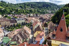 Aerial view of old town Sighisoara, Romania Stock Photo