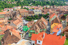 Aerial view of Old Town in Sighisoara Royalty Free Stock Photo